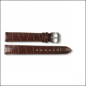 Lederband - Kroko-Design - braun - 16mm - XXL