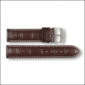 Lederband - Kroko-Design - braun - 20mm