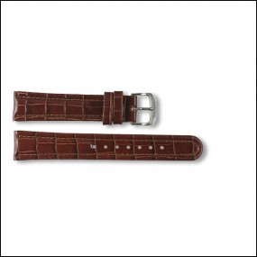 Lederband - Kroko-Design - braun - 18mm